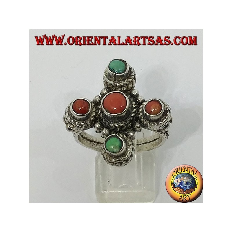 Anello in argento a forma di croce con coralli e turchesi naturali