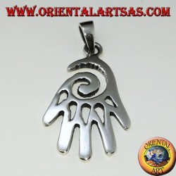 Pendant in silver hand with spiral