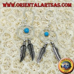 Silver earrings with little dream catcher with turquoise ball