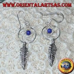 Boucles d'oreilles en argent petit capteur de rêves avec ballon de lapis lazuli