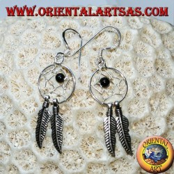 Silver earrings with little dream catcher with onyx ball