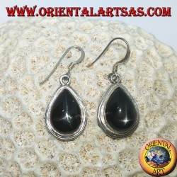 Silver earrings with black star drip (Diopside starry) handmade