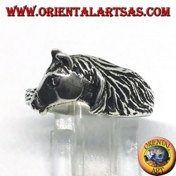 Silver ring of a horse head with a mane