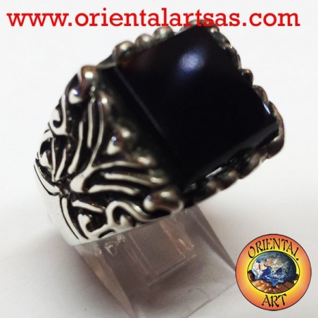 Men's silver ring with onyx