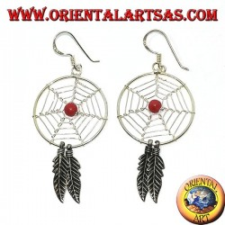 Boucles d'oreilles en argent avec capteurs de rêves   (grand) avec une boule de corail rouge