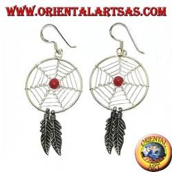 Серебряные серьги с ловцами снов (большой) с красным коралловым шариком