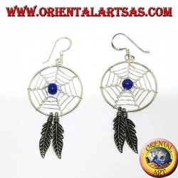 Silver earrings with dream catchers (large) with lapis lazuli ball