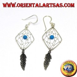 Earrings in silver dreamcatcher shaped like a rhombus with turquoise ball