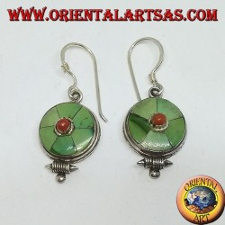 Nepalese round earrings in silver with turquoise and coral