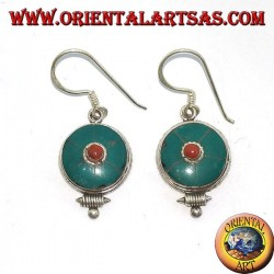 Round silver earrings with antique Tibetan turquoise and coral (Nepalese)