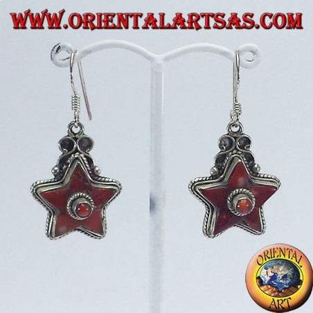 Silver earrings in the shape of a star with ancient coral (Nepalese)