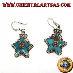 Серебряные серьги в форме звезды с антикварной бирюзой и коралловым шариком (непальский)