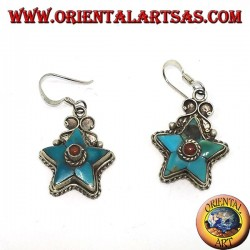 Silver earrings in the shape of a star with antique turquoise and a coral ball (Nepalese)