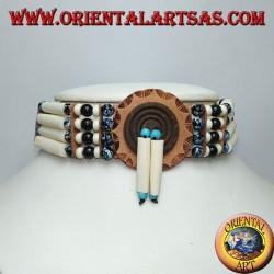 Collier ras de cou amérindien en os et perles marbrées noires et bleues