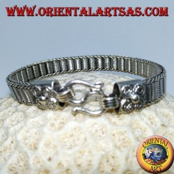 Flat silver bracelet with central helical spirals