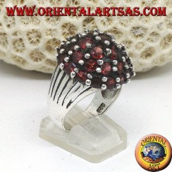 Silver ring, in the mountains with 35 round natural garnets