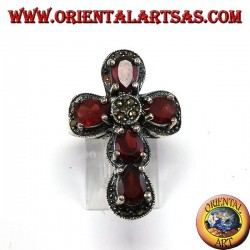 Silver ring in the shape of a cross with 5 natural garnets and marcasites