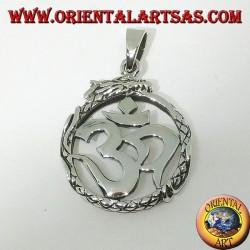 Pendentif en argent (ॐ) Óm et Aum, symbole sacré de l'hindouisme protégé par le dragon