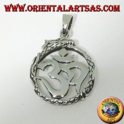 Silberanhänger (ॐ) Óm und Aum, ein heiliges Symbol des Hinduismus, das vom Drachen geschützt wird