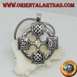 Silver pendant, Celtic cross with Odin gungnir