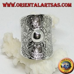 Wide band ring in silver, shield handmade by karen