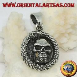 Silver pendant, Ouroboros Uroboro dragon with skull