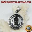 Ciondolo in argento, drago Uroboro Ouroboros con teschio