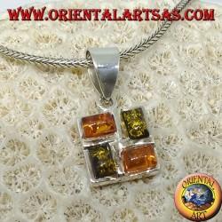 Quadratischer Silberanhänger mit 2 Bernsteingelb und 2 Bernsteingrün rechteckig