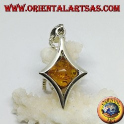 Silver pendant in diamond shape with a central square amber