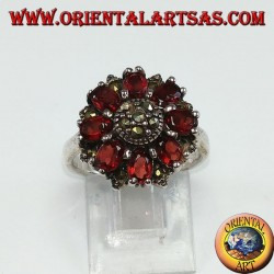 Silver ring in round shape with 8 natural oval and marcasite garnets