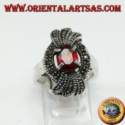 Silver ring, marcassite bow with a natural oval grenade encrusted