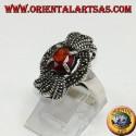 Anello in argento, fiocco di marcassiti con un granata ovale naturale incassonato