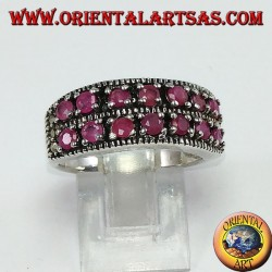 Band ring in silver with two rows of set round rubies