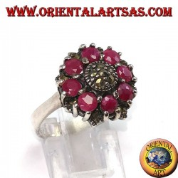 Silver ring with 8 round rubies set and marcasites in the center