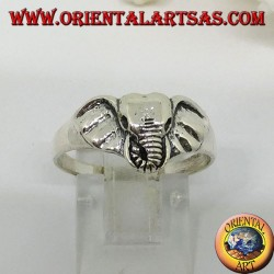 Silver ring with an elephant head