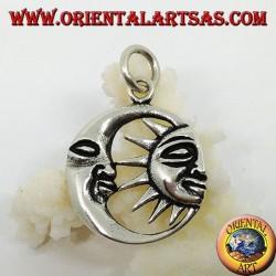 Silver pendant half sun in the half moon