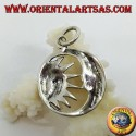 Ciondolo in argento metà sole nella mezzaluna