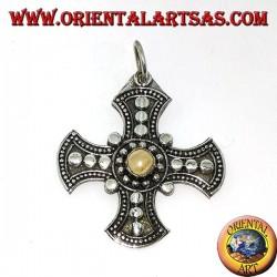Pendentif en argent, croix celtique avec pierre de lune adularia