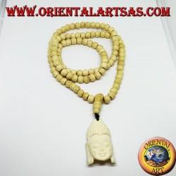 Chapelet bouddhiste Mālā de 108 grains en os de yak de 8,5 mm. avec la tête de Bouddha
