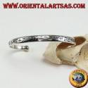 Bracciale rigido in argento, con incisioni tribali fatti a mano