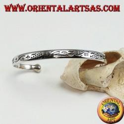 Bracelet rigide en argent, étoiles et nuages gravés à la main