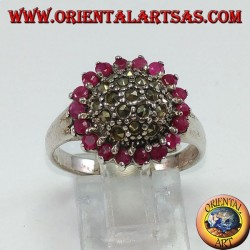 Round silver ring with a marcasite hemisphere surrounded by 18 round set rubies