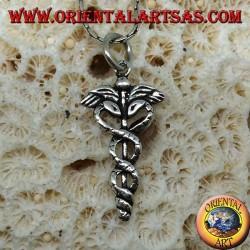Ciondolo in argento il caduceo ( bastone alato con due serpenti attorcigliati )