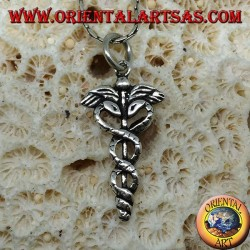 Silver caduceus pendant (winged stick with two twisted snakes)