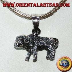 Silver pendant of a buffalo