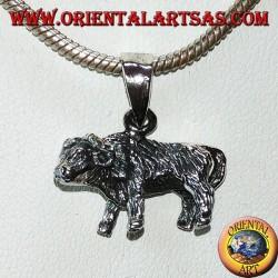 Silver pendant of a buffalo