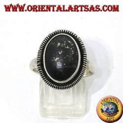 Silver ring with natural oval lapis lazuli edged with a spiral