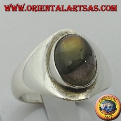 Simple silver ring with oval labradorite