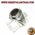 Anello d'argento semplice con labradorite ovale