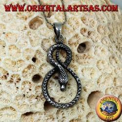Ciondolo in argento serpente attorcigliato a forma di  otto